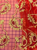 Fancy Sequined Paisley - 50-inches Wide Red and Gold