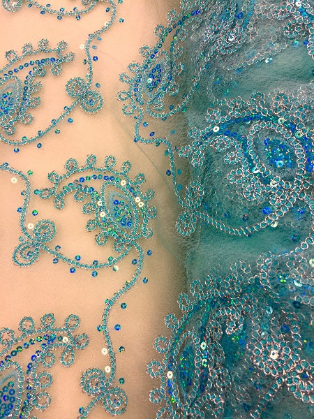 Fancy Sequined Paisley - 50-inches Wide Mint and Silver