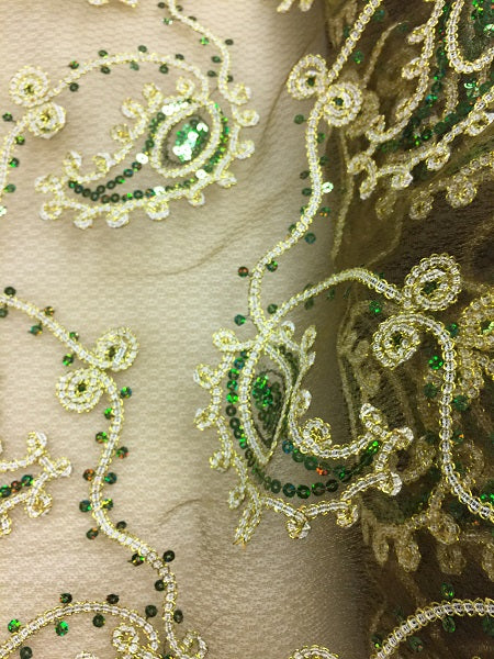 Fancy Sequined Paisley - 50-inches Wide Green and Gold