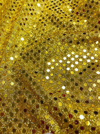 Sequin Metallic Dot Fabric - 44-inches Wide Gold Close-Out