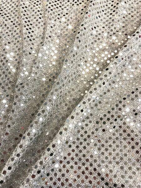 Sequin Metallic Dot Fabric - 44-inches Wide Silver Close-Out