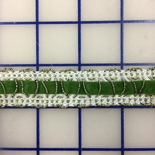 Non-Metallic Trim - 7/8-inch Velvet Ribbon White with Green