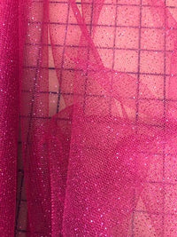 Stretch Glitter Tulle - 58-inches Wide Fuchsia