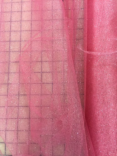 Stretch Glitter Tulle - 58-inches Wide Rose