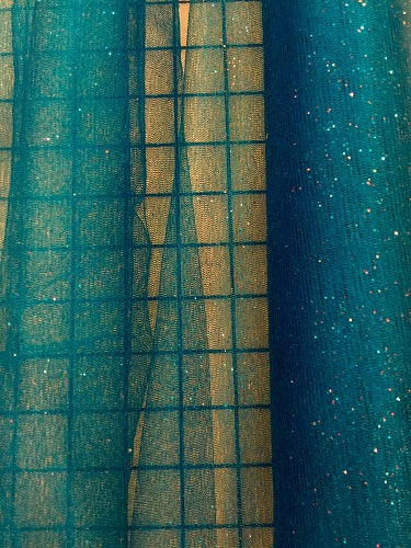Stretch Glitter Tulle - 58-inches Wide Turquoise