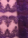 Fancy Lace - Border Lace 52-inches Wide Purple