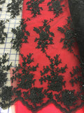 Fancy Lace - Beaded Lace 54-inches Wide Flower Motifs Black