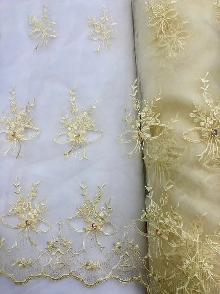 Fancy Organza - 52-inches Wide Yellow with Embroidered Flowers