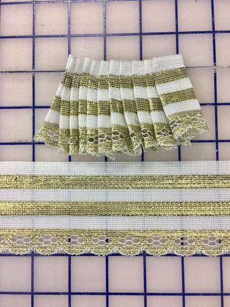 Metallic Trim - 2.5-inch White/Gold with Scalloped Edge