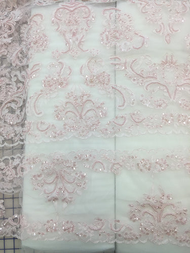 Fancy Lace - Border Lace 52-inches Wide Light Pink