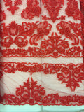 Fancy Lace - Border Lace 52-inches Wide Red