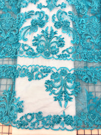 Fancy Lace - Border Lace 52-inches Wide Turquoise