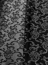 Brocade - 57-inches Wide Satin Metallic Black and Silver