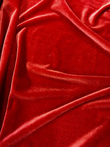 Stretch Velvet - 60-inches Wide Red