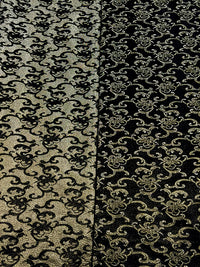 Brocade - 50-inches Wide Reversible Metallic Black/Gold
