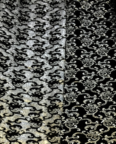 Brocade - 50-inches Wide Reversible Metallic Black/Silver