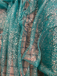 Sparkle Mesh - 60-inches Wide Mesh Aqua with Silver Sparkle