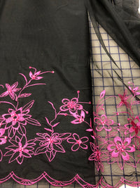 Fancy Lace - 56-inches Wide Black and Bright Pink