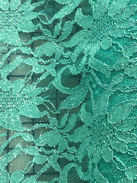 Stretch Lace - 50-inches Wide Green Sparkle
