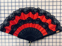 Spanish Fan - Red with Black Lace