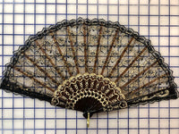 Spanish Fan - Black and Gold Lace