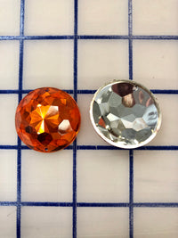 Decorative Gems - 1.25-inch Medium Round Sew-On Gems Orange 3-Pack SPECIAL PURCHASE!