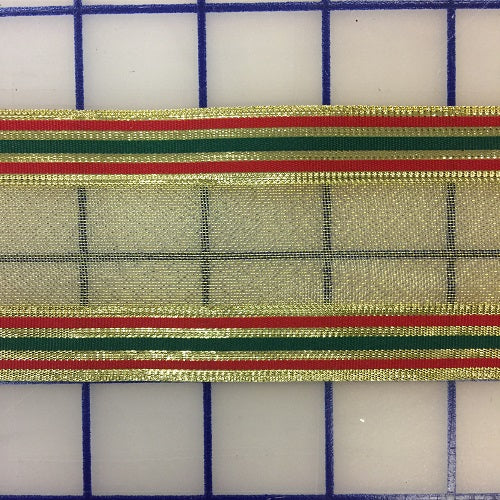 Metallic Ribbon - 2.25-inch Striped Gold with Red and Green