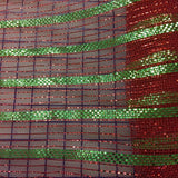 Metallic Trim - 21-inch Poly Mesh for Decoration and Craft Work Red with Green Stripes