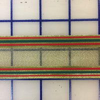Metallic Ribbon - 1.5-inch Striped Gold with Red and Green