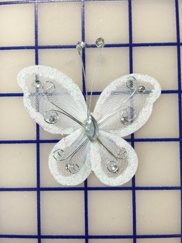 Butterflies - #BF2000 Iridescent White Small
