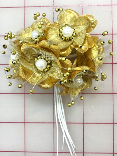 Sprays - Gold Flowers with Pearls