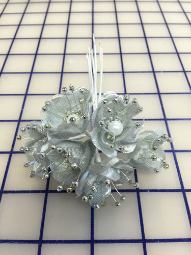 Flowers - Silver with Pearls