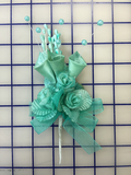 Flowers - Satin Rosebuds with Organza Ribbons Aqua