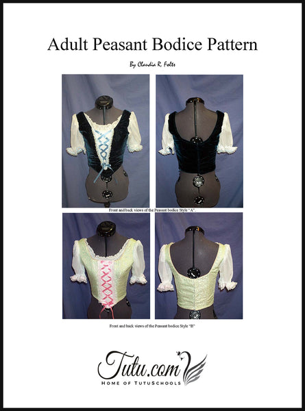 Bodice Pattern - Adult 8 Piece Peasant-Style Design By Claudia Folts and Cheryl Beasley