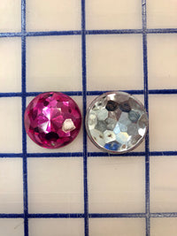 Decorative Gems - 1-inch Small Round Sew-On Gems FUCHSIA 3-Pack SPECIAL PURCHASE!
