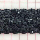 Sequined Trim - 3-inch Sequined Black