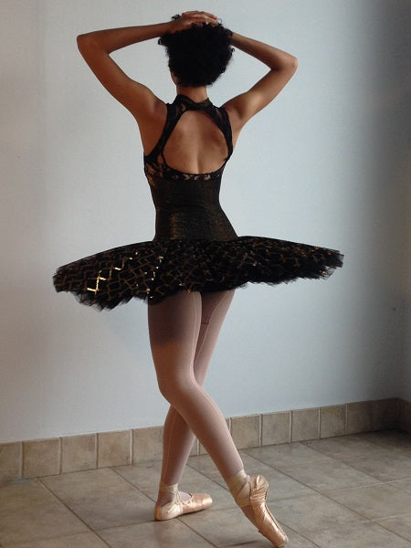 Stretch Tutu Top with High Neck and Keyhole Back Pattern