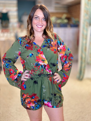 Bright Abstract Floral Romper