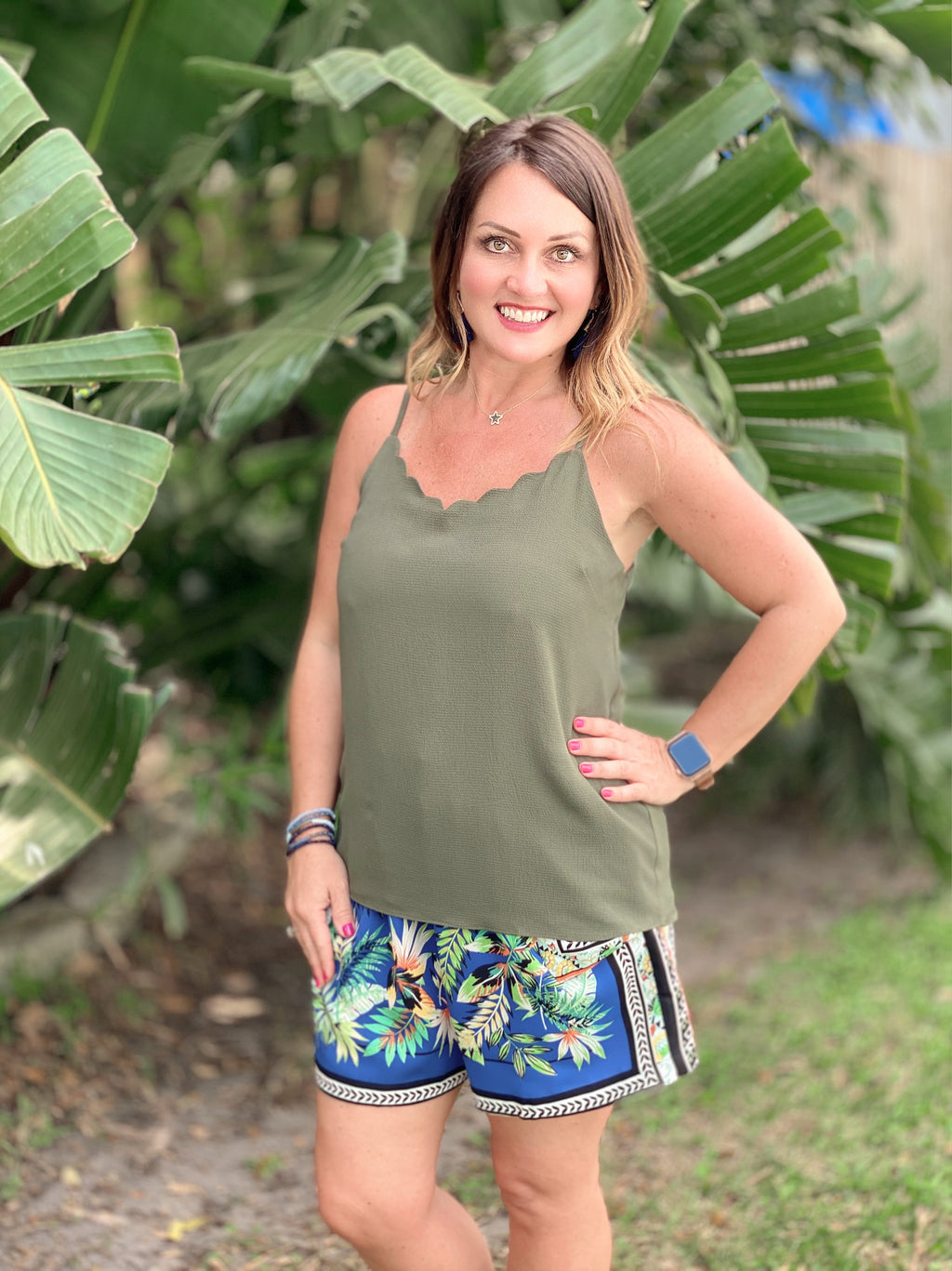 Sweet and Sassy Crepe Scallop Top