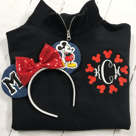 Mouse Monogram Quarterzip