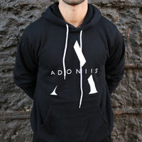 """A"" logo hoodie available in black, charcoal, and light grey"