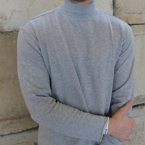 Grey Long Sleeve Mock Neck
