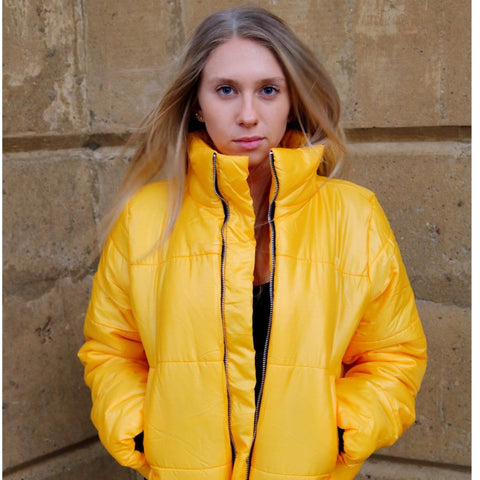 Yellow Cropped Puffer Jacket