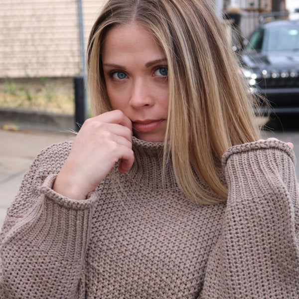 women's turtle neck woven sweater available in grey and khaki