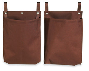 "H1S 2 Pocket Housekeeping Cart Caddy Bag - 12"" x 35"" - Brown - 24 Bags Per Case"