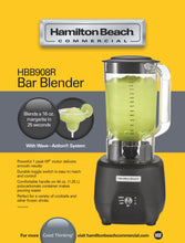 Load image into Gallery viewer, Hamilton Beach Commercial HBB908R 1 Peak HP, 2 Speeds, 44oz / 1.25L Polycarbonate Container