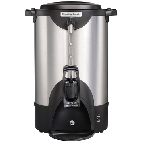 Hamilton Beach Commercial HCU040S Stainless Steel Coffee Urn, 40 cup, one hand dispensing, coffee level indicator