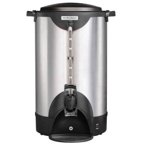 Hamilton Beach Commercial HCU100S Stainless Steel Coffee Urn, 100 cup, one hand dispensing, coffee level indicator