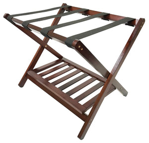 H1S Standard Wood Luggage Rack w/Shoe Shelf - Walnut Finish (4 Racks Per Case)