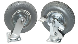 "H1S 8"" No Flat Wheels with Brakes - Grey Tires (set of 4)"
